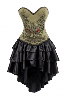 Army Green Flower and Wings Printing Corset Dress With Layered Irregular Bottom Design