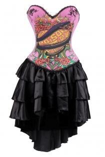 Pink Poison Love Print Corset Dress With Layered Irregular Bottom Design