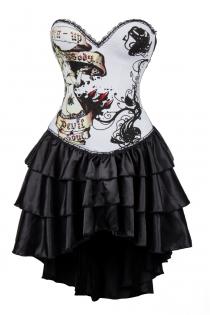 White Devil Soul Print Corset Dress With Layered Irregular Bottom Design