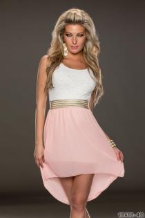 Wonderful Ethereal Chiffon Sleeveless White & Pink Hit Color Stitching High-low Dress