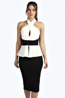 Sexy Criss-cross Halter Neckline White & Black Lotus Leaf Waist Office Lady Package Hip Dress