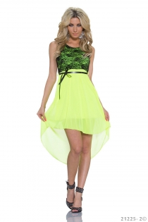 Sexy Lingerie Black Lace and Fluorescent Green Chiffon Stitching High-low Plus Size Casual Dress