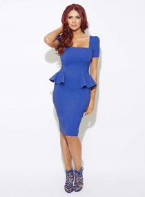 Women's Sexy Blue Lotus Leaf Waist Office Lady Package Hip Dress