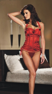 Red Satin Corset with Halter Straps and Rose Detail