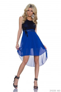 Sexy Lingerie Black Lace and Royal Blue Chiffon Stitching High-low Plus Size Casual Dress