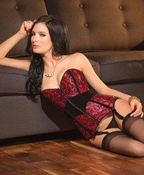 Sexy Women Leaf Print Lace-up Corset with Front Zipper and Garters