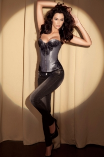 Dusky Silver Grey Corset With Black Lace Print at Bust and Sides and Underwired Cups, Front Busk