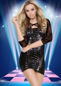 Sexy Black Clubwear Dress With Lace Half Long Sleeve