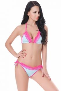 Sexy Women Blue Bikini Set With Pink Lace Trim