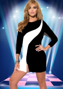 Sexy Black Clubwear Dress With White Stitching Details