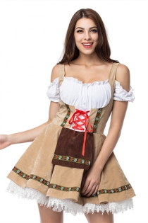 Plus Size Beige/White Oktoberfest Fancy Dress Cosplay Adult Beer Girl Costume