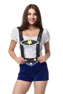 Blue 2 Piece Adult German Oktoberfest Beer Girl Costume Sexy Carnival Costumes