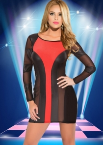 Sexy Black & Red Stitching Hit Color Clubwear Dress