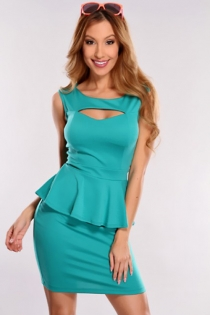 Solid Teal Sleeveless Mini Dress With Ruffled Waistline Trim and Cut-out Neckline