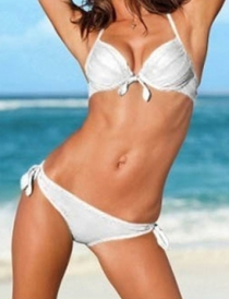 Solid White Halter-Style Bikini Swimsuit With Front Tie Closures on Top and Side Ties on the Bottom