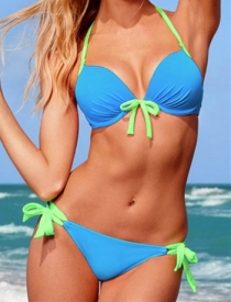Green and Blue Halter-Style Bikini Swimsuit With Side-tie Bottoms and Front Tie Accent and Underwire on Top