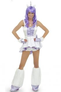 Playful Purple Mesh Accented Sleeveless White Top and Shorts Unicorn Costume