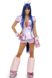 Flirtatious Pretty Unicorn Pink Trimmed White Skirted Top and Shorts Costume