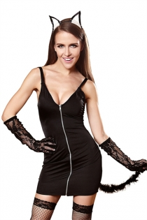 Sexy Halloween Cat Girl Dress With Gloves & Headwear, Stockings Not Included