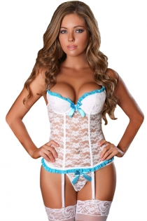 Falling In Love White Lace Bustier & G-String Set