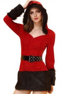 Sexy Red Christmas Dress With Black Fur Trim and Belt
