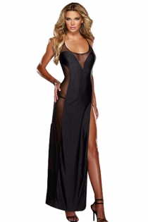 Black String Halter Style Long Gown With Seethrough and High-slit Sides