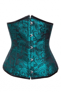 Teal Underbust Corset With Black Floral Lace Print and Satin Trim, Front Busk