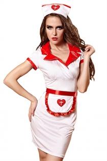 Sexy Nurse Lingerie Dress With Front Apron & Headwear