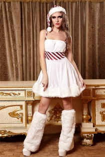 Sexy White Fur Princess Cosplay dress Christmas Costume With Hat & Leg Wear