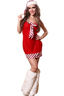 Gorgeous Red Christmas Dress With Stripe Trim And Stripe Hat & Leg Wears