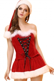 Gorgeous Red Hat, Lace-up Bustier Top and Tutu Skirt Christmas Set With Fur Trim