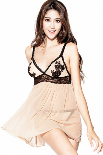 Plus Size Apricot Sheer Mesh Babydoll Lingerie With Black Embroidery Bust & G-string