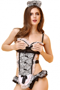 Sexy Black And White Lace Open Bra Maid Lingerie With Matching Panties & Headwear
