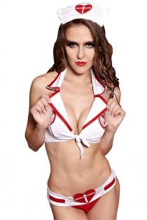 Sexy Nurse Lingerie Bra Top With Matching Panties & Headwear