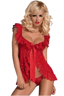 Plus Size Red Flowery Lace Babydoll Lingerie with Ruffle Trim & Thongs