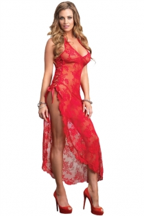 Sexy Plus Size Lingerie Floral Lace Red Nightgown With Matching Thongs