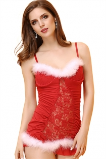 Sexy Red Christmas Lace Babydoll With Fur Trims & Matching Thongs