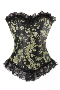 Glamorous Black Corset With Gold and Brass Print, Generous Lace Ruffle, Front Busk