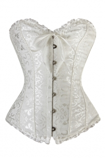 White Waist Training Corset of Floral Brocade With Ruffle Ribbon Trim, Sweetheart Neckline, Front Busk
