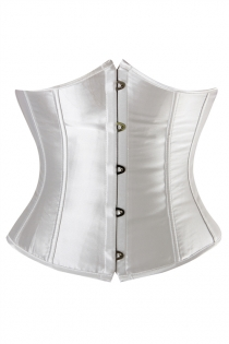 Essential White Satin Waist Training Underbust Corset With Simmering Effect for Every Occasion, Front Busk