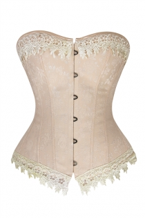 Apricot Corset With Intricate Lace at Bust and Bottom and Subtle Floral Print, Front Busk