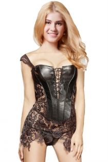 Deviant Faux Leather and Lace Corset with Lace-up Front and Zipper Back