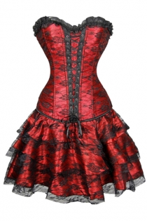 Gorgeous Red Corset Dress With Floral Lace Overlay and Ruffle-Layered Skirt, Lace-up Front and Black Flower on Bust