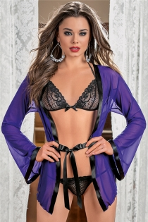Sexy Women Blue Sheer Long Sleeve Robe With Black Lace Bra and Thongs