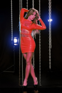 Glimmering Slashed Front, Body-Hugging Red Long Sleeves Mini Club Dress