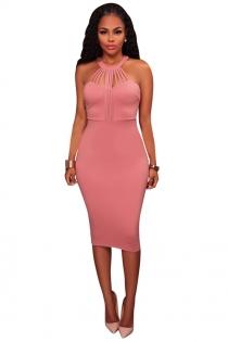 Pink sheath round collar sleeveless knee length dress