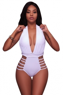White Halter One Piece Swimsuit Bikini