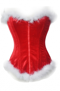 Red Overbust Christmas Steel Boned Corset With White Fur Trim and Front Zipper