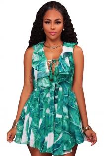 Bohemian style chiffon digital printing V-neck lace dress lotus leaf collar dress