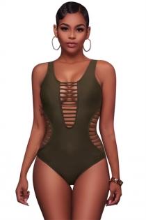 Sexy solid green striped hollow one-piece swimsuit bikini